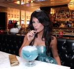 Laura Croft with an Oceans Blue goblet cocktail at Sugar Factory American Brasserie at Paris Las Vegas