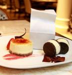 "Brulee cheesecake; mini donuts; and ""Oreo"" ice cream sandwiches"