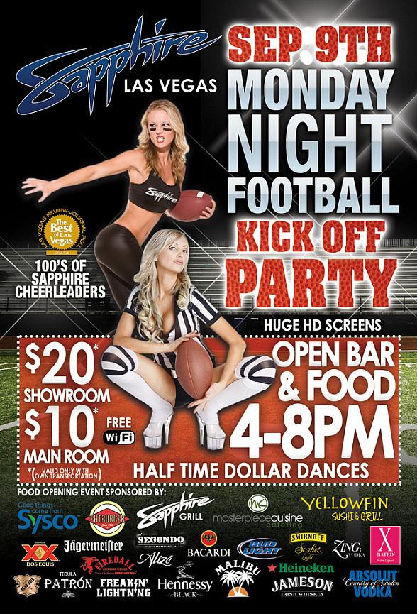 Sapphire, The World's Largest Gentlemen's Club, Kicks Off Monday Night Football Party Sept. 9 with Open Bar 4pm-8pm