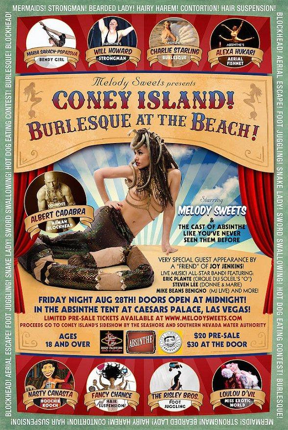 """Melody Sweets Presents """"Coney Island! Burlesque at the Beach!"""" Aug. 28 at ABSINTHE's Spiegeltent at Caesars Palace"""