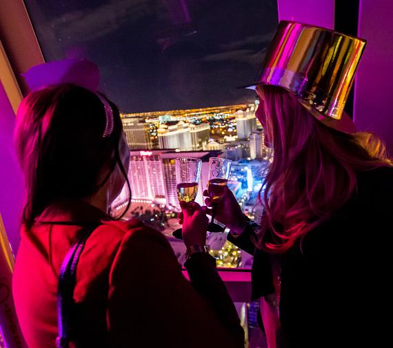 High Roller passengers admire the Vegas Skyline during New Year's Eve 2015