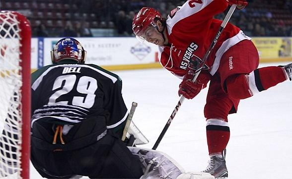 Wranglers (C) Chad Nehring beats Grizzlies (G) Aaron Dell in the shootout