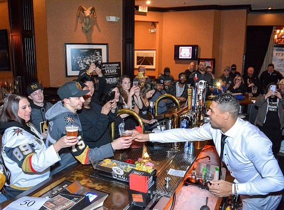 Ryan Reaves with guests at Sierra Gold in Las Vegas