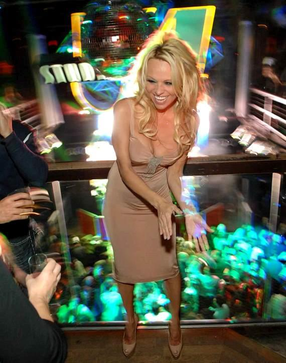 Pamela Anderson counting down the New Year at Studio 54