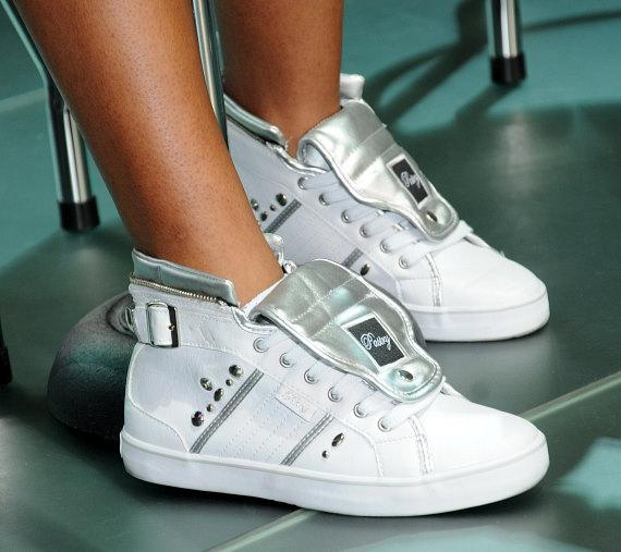 Jessica Jarrell wearing Pastry Shoes at fashion show in Las Vegas
