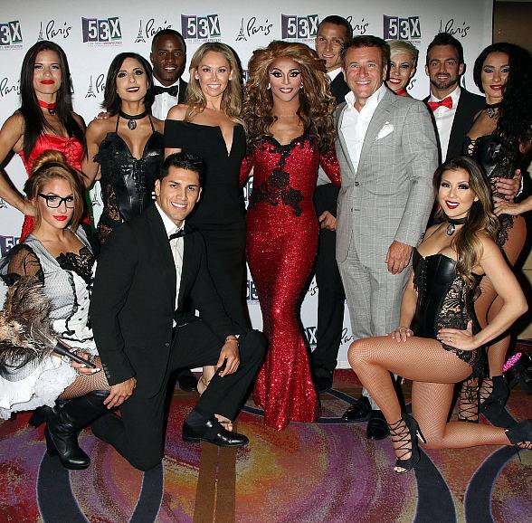 """""""Dancing with the Stars"""" champ Kym Johnson and fiancé Robert Herjavec with cast of """"53X"""" at Paris Las Vegas"""