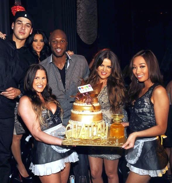Robert Kardashian, Kim Kardashian, Kris Humphries, Lamar Odom and Khloé Kardashian Odom celebrate at Chateau Nightclub & Gardens