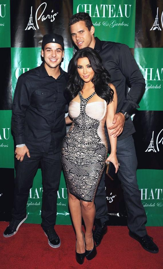 Robert Kardashian, Kim Kardashian and Kris Humphries on the red carpet at Chateau Nightclub & Gardens