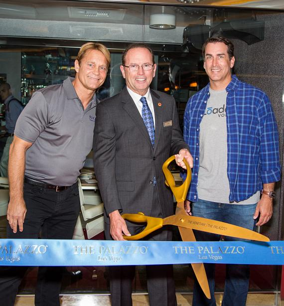 Sports X Radio's Ken Thomson, Sr. VP of Operations Pete Boyd, and actor Rob Riggle