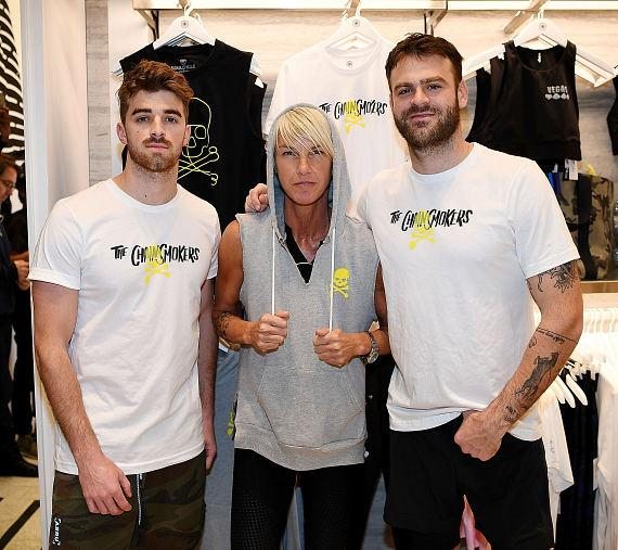 The Chainsmokers with SoulCycle's Stacey Griffith