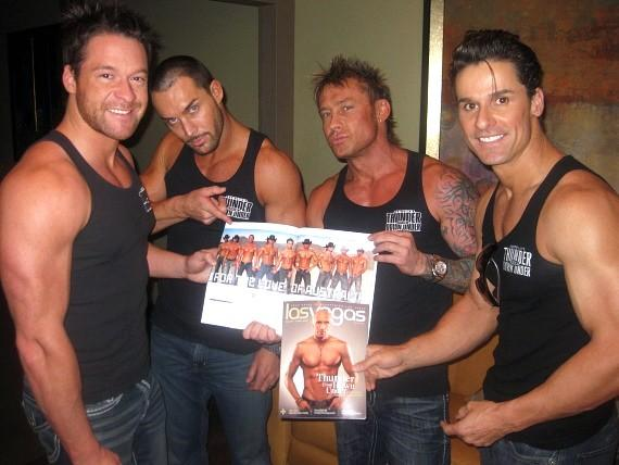 Members of 'Thunder from Down Under' with cover of Las Vegas Magazine