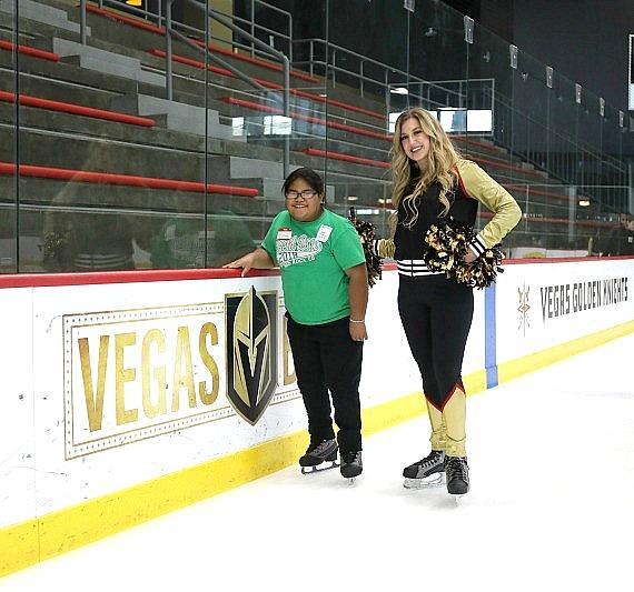- Golden Knights Cheerleader with recipient