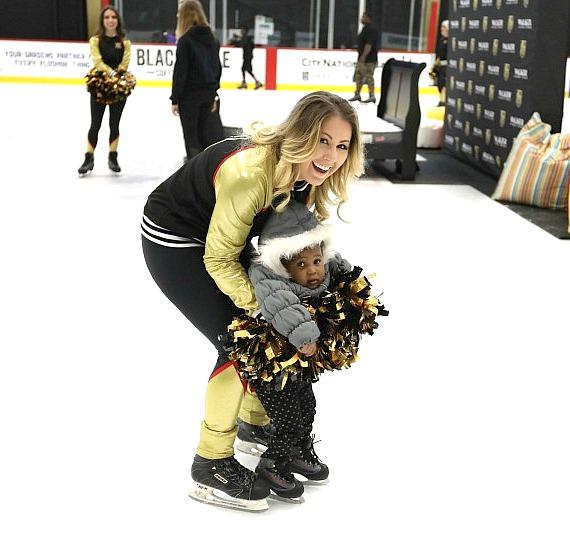 VGK Cheerleader with toddler