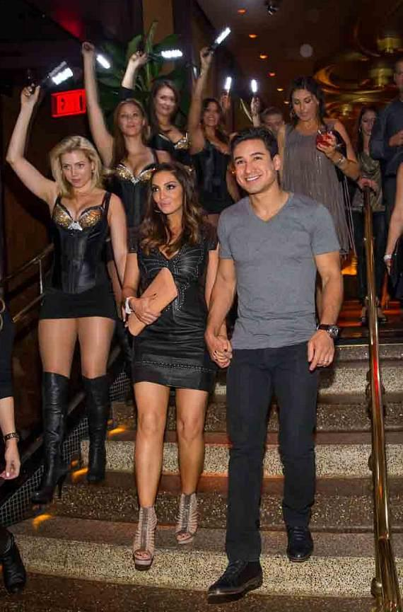 Mario Lopez and Courtney Mazza Lopez arrive at XS