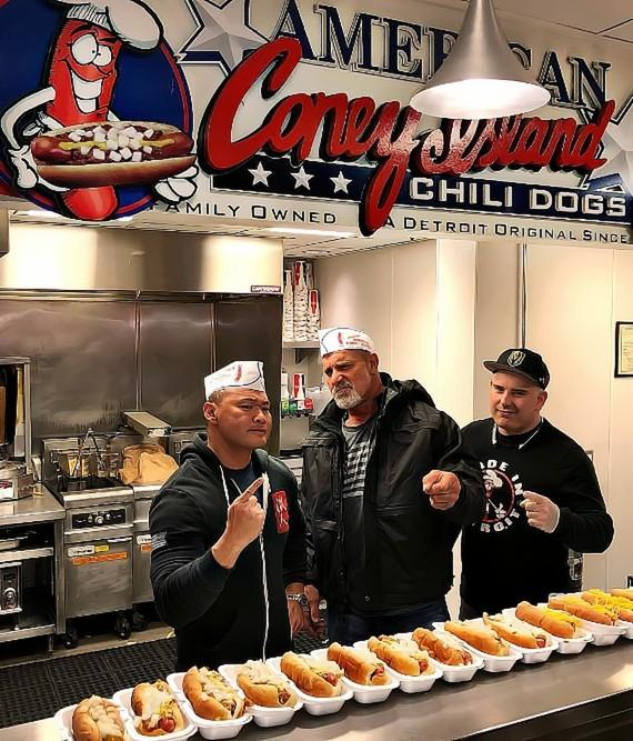 """Bill Goldberg and Tu Lam of """"Knife Or Death"""" on History Channel at American Coney Island Las Vegas"""