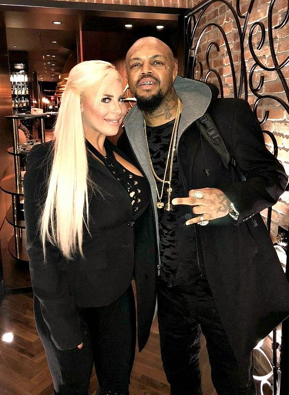 DJ Paul of Three 6 Mafia with WWE star Dana Brooke at Andiamo Italian Steakhouse in the D Casino Hotel Las Vegas