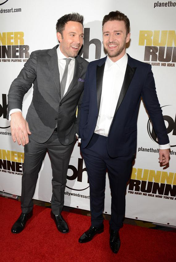 Ben Affleck and Justin Timberlake at Runner Runner premiere at Planet Hollywood in Las Vegas