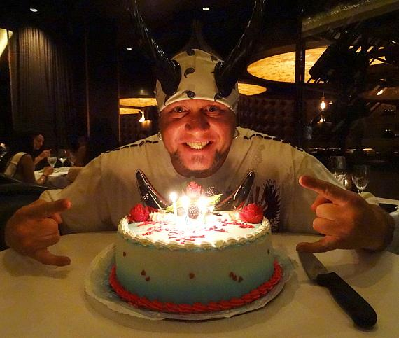 "Horny Mike of ""Counting Cars"" with birthday cake at Andiamo Italian Steakhouse"