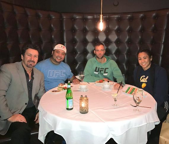 The D Executive Richard Wilk with MMA boxing coach Angelo Reyes, UFC Fighter Alessandro Ricci and Professional Boxer Ana Julaton at Andiamo Steakhouse in the D Casino Hotel Las Vegas