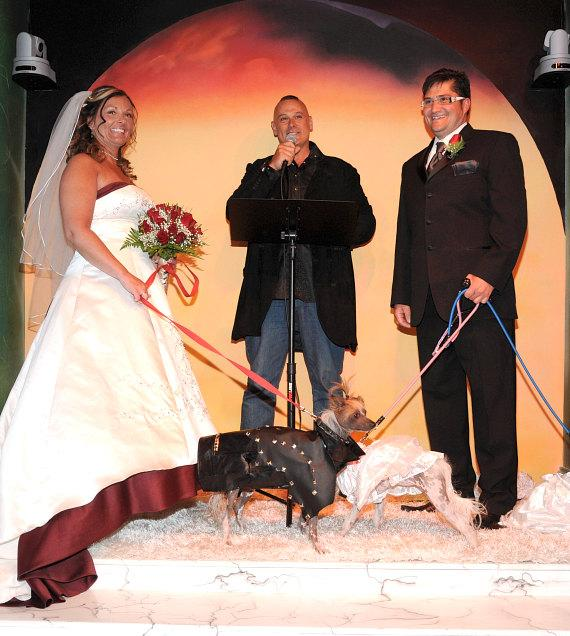 Dawn Fallon and Ian Fallon renew their vows in the Hotter Than Hell wedding chapel