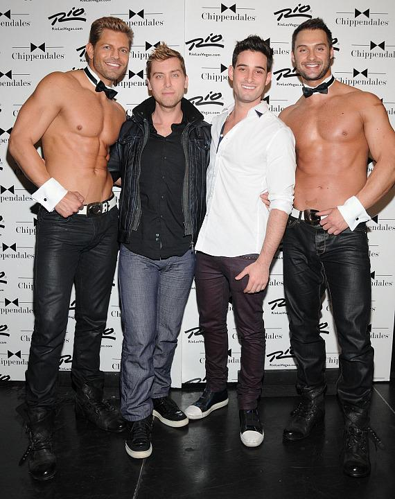 Lance Bass with boyfriend Michael Turchin and Chippendales