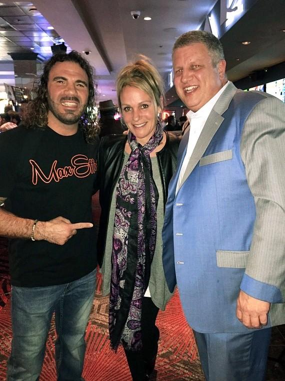 Legendary UFC fighter Clay Guida with the D Casino Owner Derek Stevens and his wife Nicole Parthum at the Longbar in Las Vegas