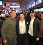 NFL Center Los Angeles Rams Brian Allen with Casino Host Wilbo and St Louis Blues NHL Player MacKenzie MacEachem in Las Vegas