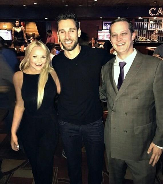 NHL Goalie Cam Talbot with casino hosts Whitney Genevieve and Chris Waterman at Golden Gate Hotel Casino in Las Vegas