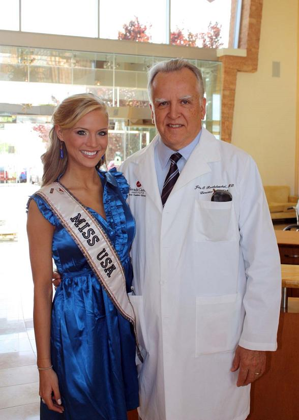 Miss USA is welcomed to NVCI by Director and CEO Dr. John C. Ruckdeschel