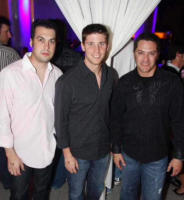 Sam Hornish, Jr., Denny Hamlin and David Stremme at PURE Nightclub