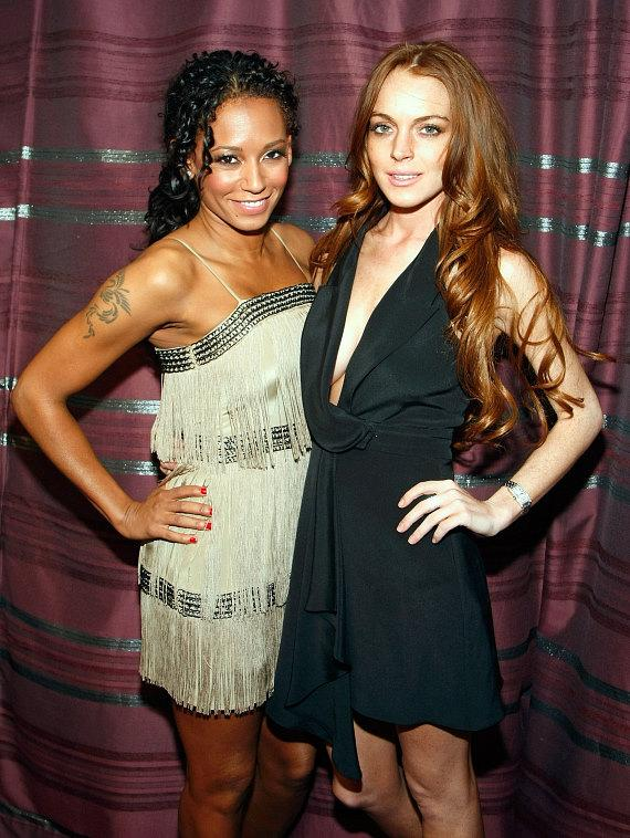 Singer Melanie Brown and actress Lindsay Lohan