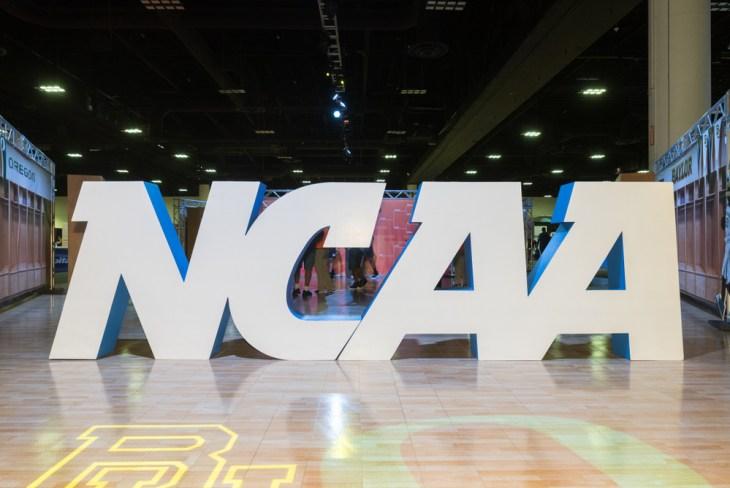 large-scale freestanding NCAA logo