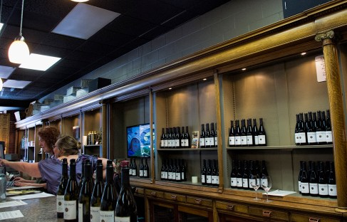 A look at the tasting room - Theresa's the tall one!