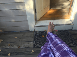 Morning on the deck in my purple pajamas