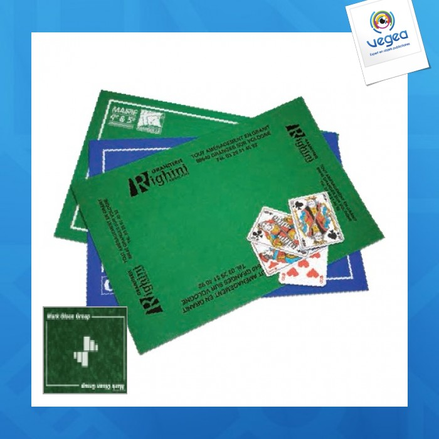 tapis de jeu publicitaire de cartes 40 x 60 cm