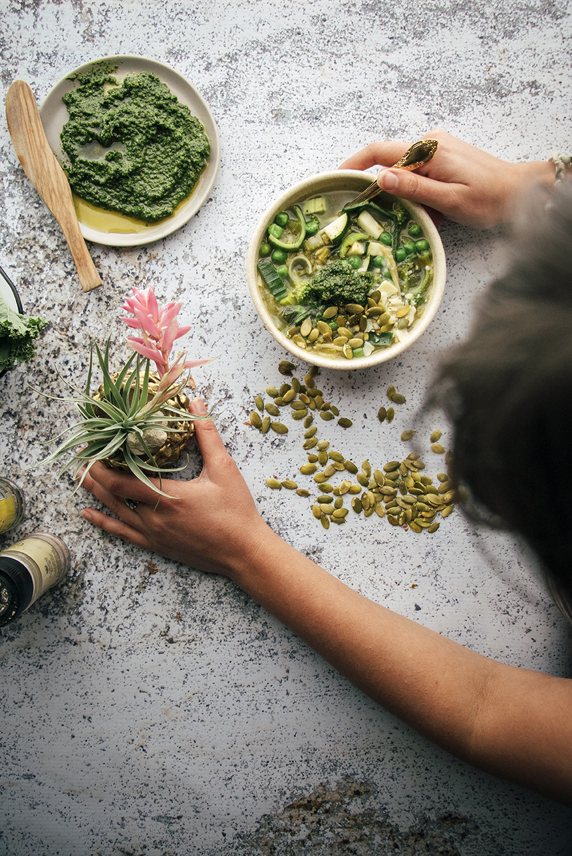 Green Minestrone With Kale Pistachio Pesto