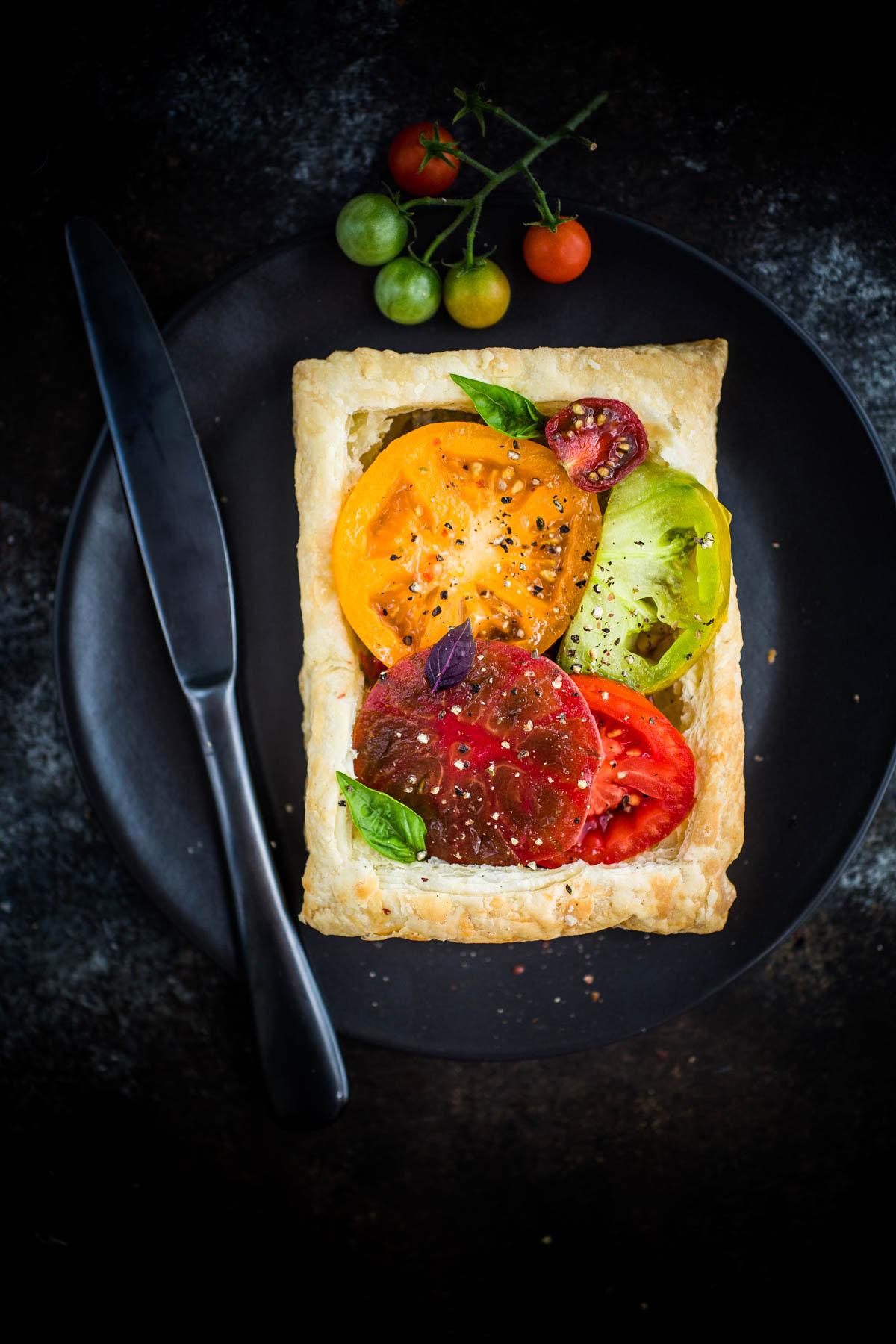 Tomato Basil Tarts with White Bean Puree