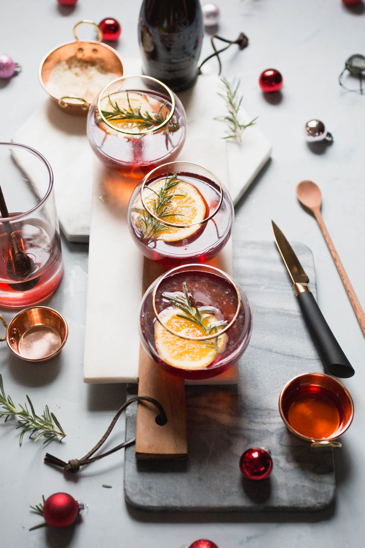 Cranberry Orange Champagne Mimosa with Candied Rosemary