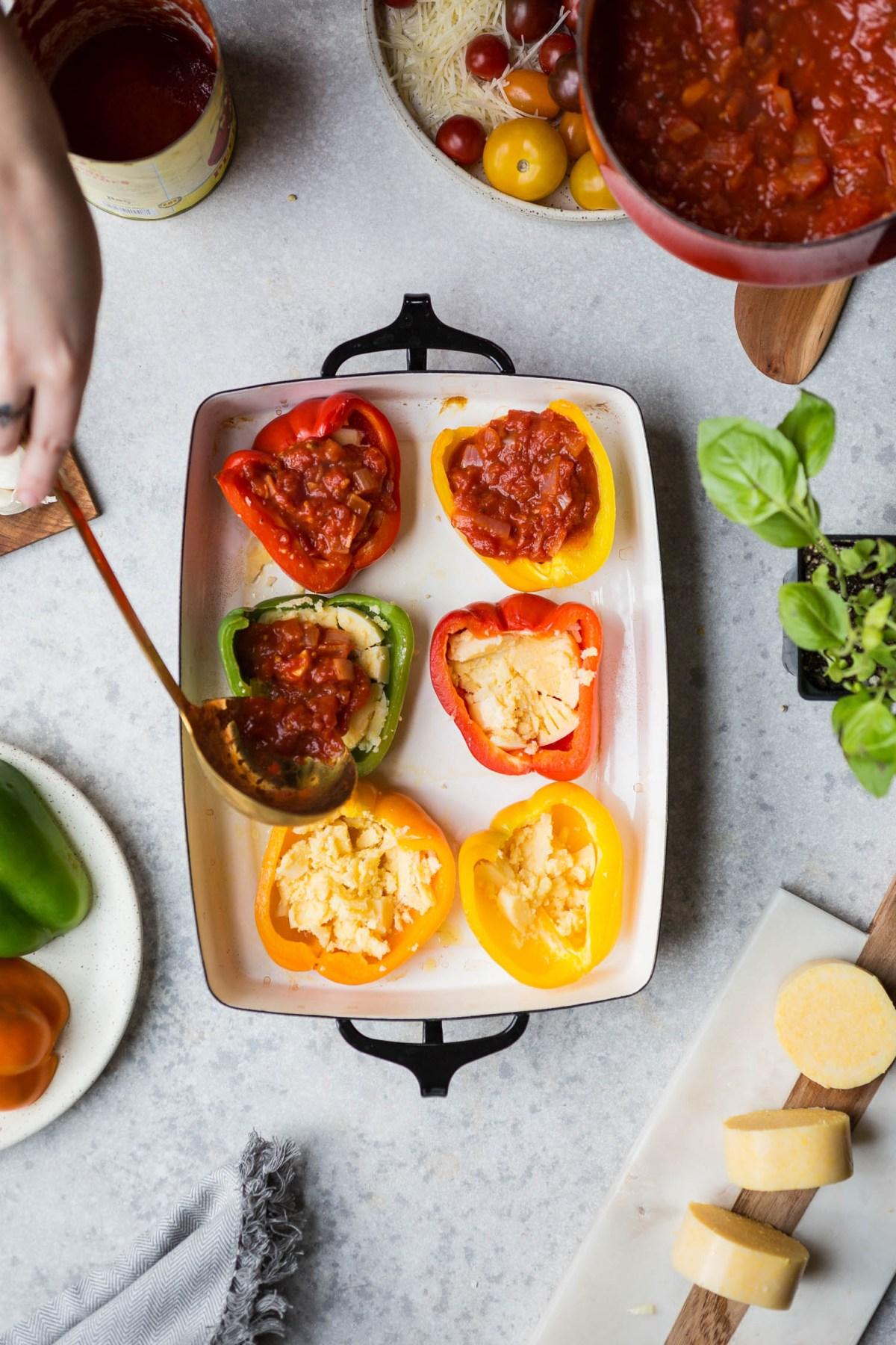 Vegetarian Polenta Pizza Stuffed Peppers