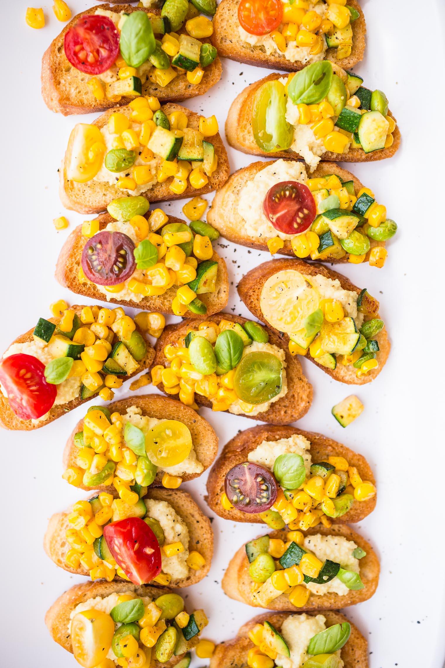 Crostini with Macadamia Ricotta and Corn-Zucchini Succotash + Vegetarian Heartland Blog Tour
