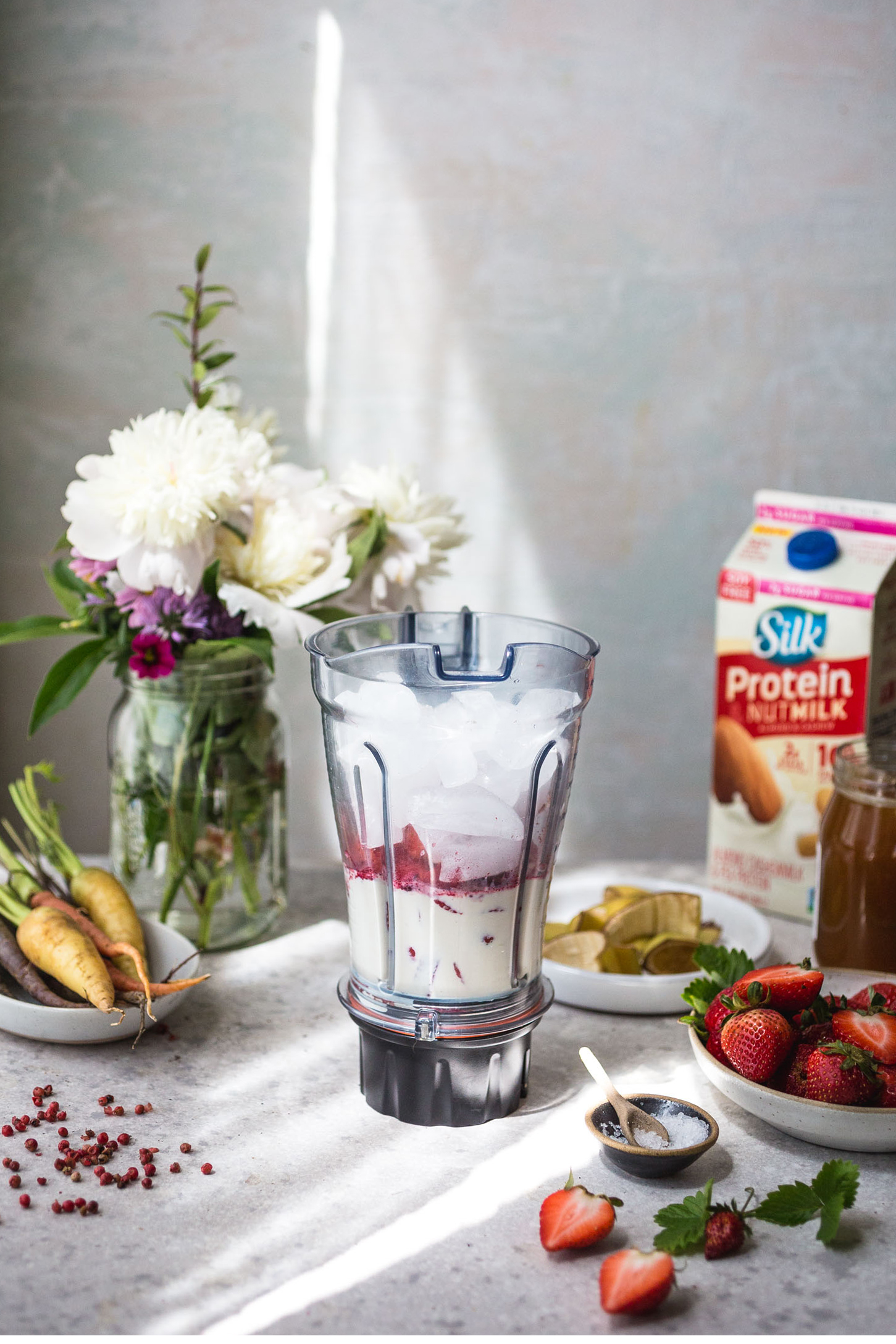 Strawberry Pink Peppercorn Protein Smoothie