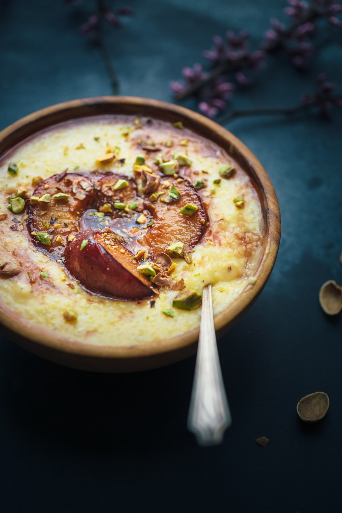 Vegan Breakfast Polenta with Rose-Roasted Plums