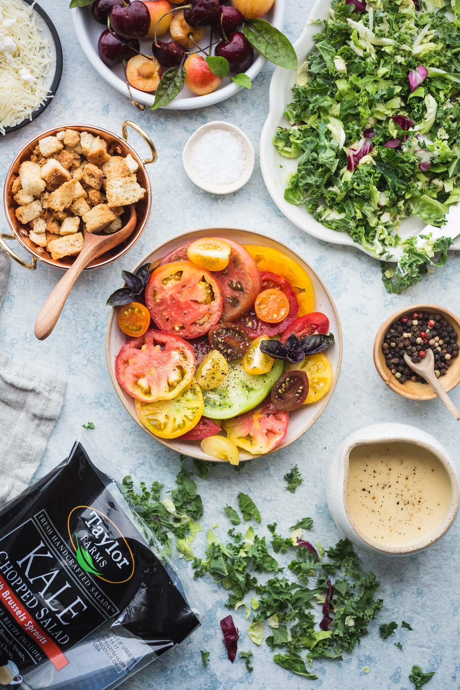 Tomato & Cherry Kale Salad with Lemon Vinaigrette