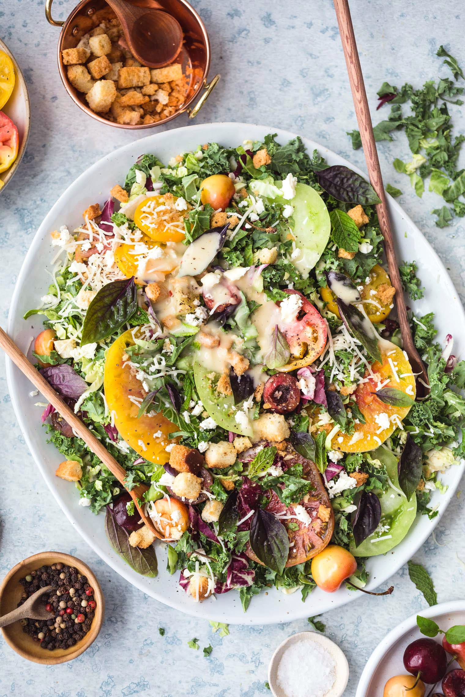 Tomato & Cherry Kale Salad with Lemon Vinaigrette