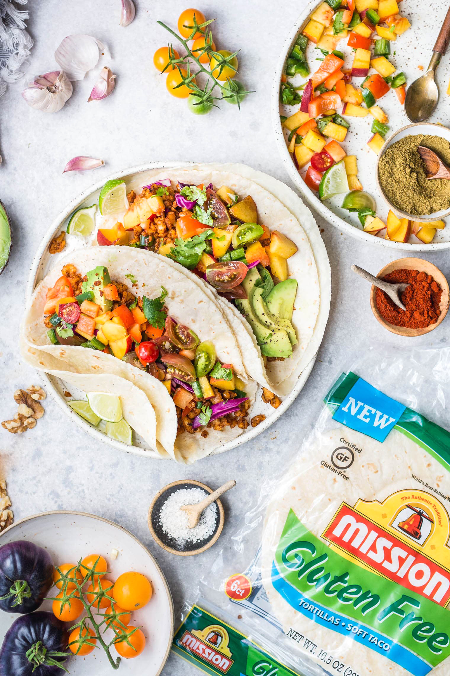 Walnut Meat Tacos with Peach Tomato Salsa
