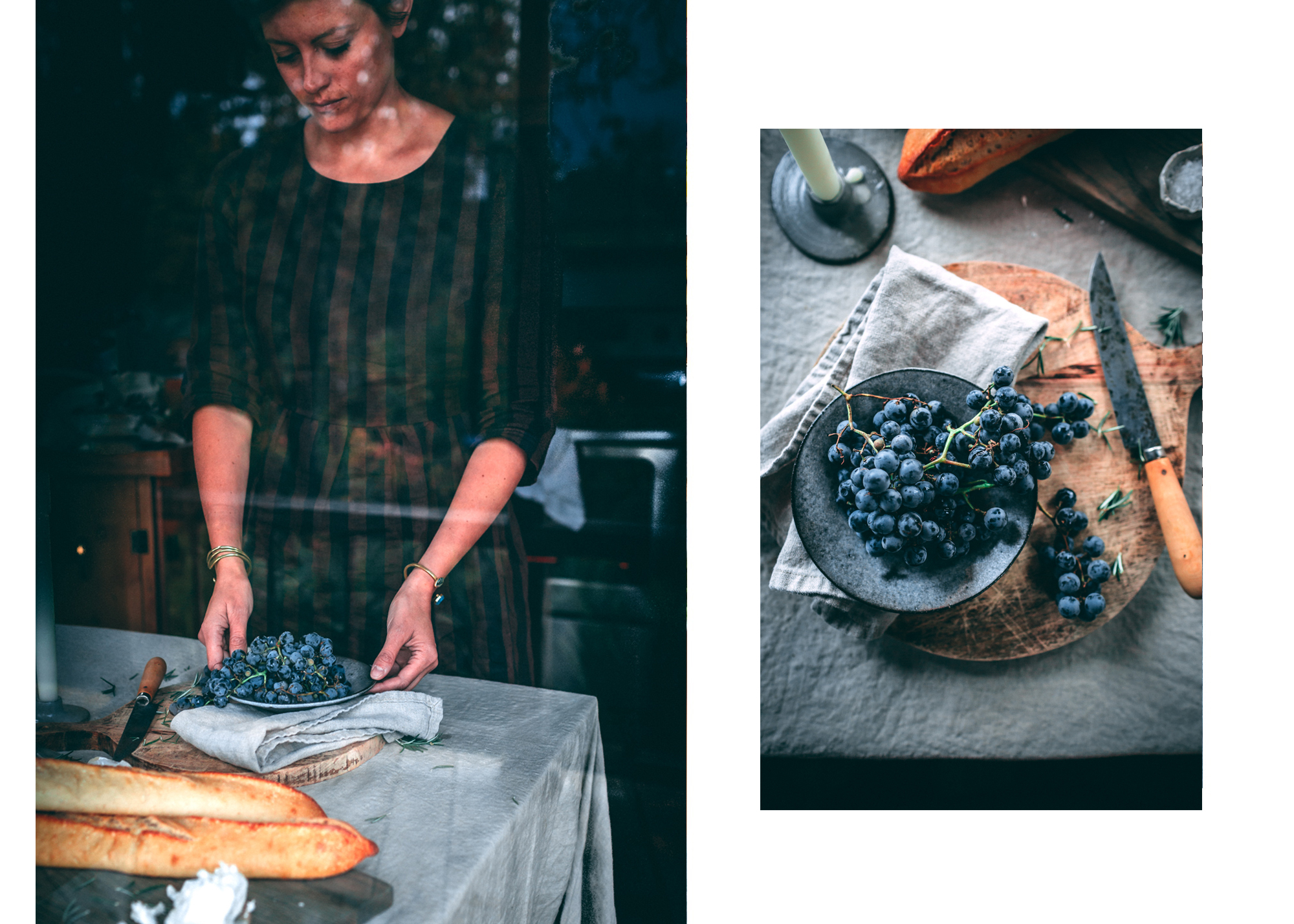 Roasted Grape Crostini with Chevré and Rosemary