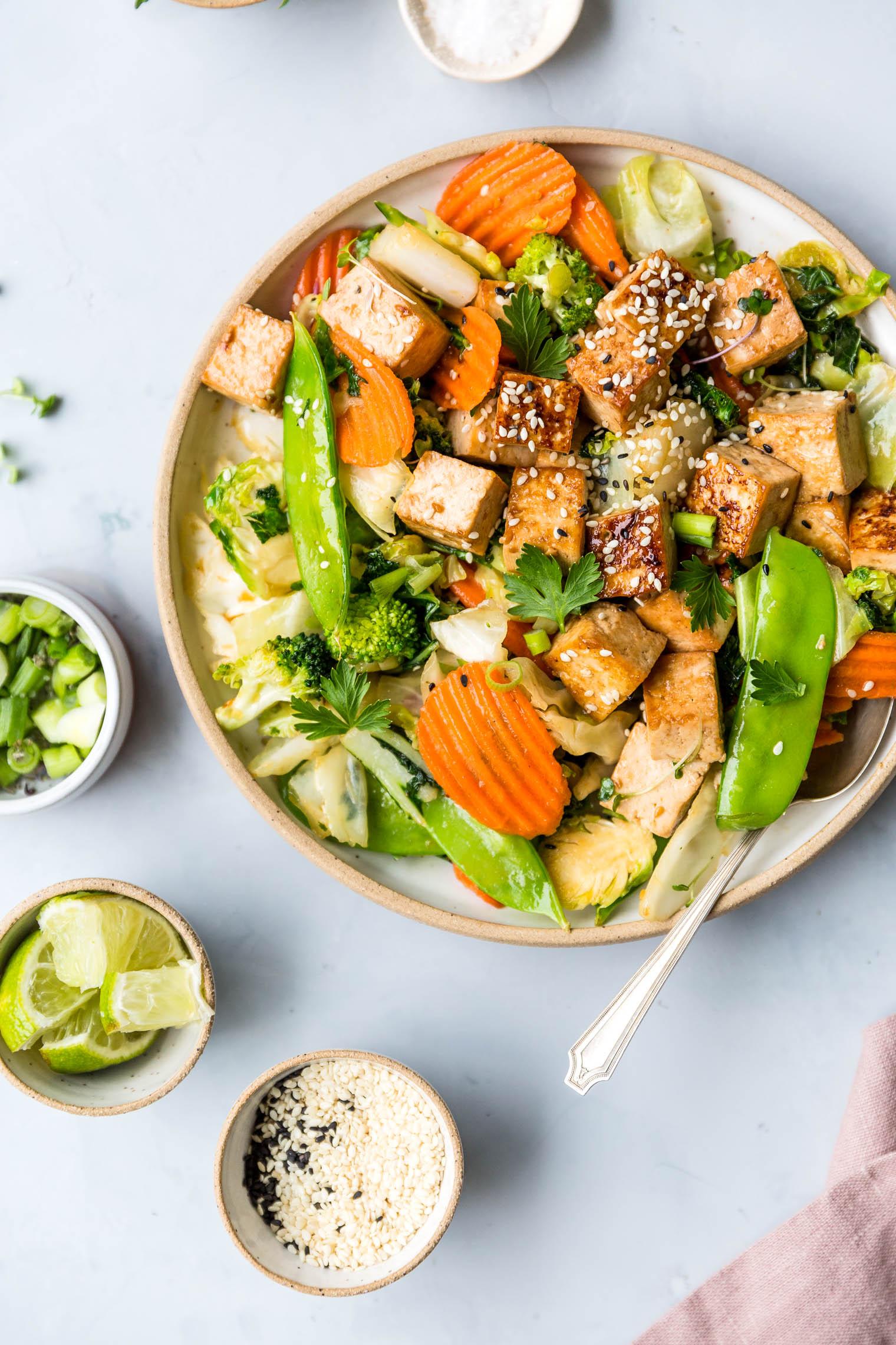 Ginger Sesame Tofu & Winter Vegetable Stir-Fry