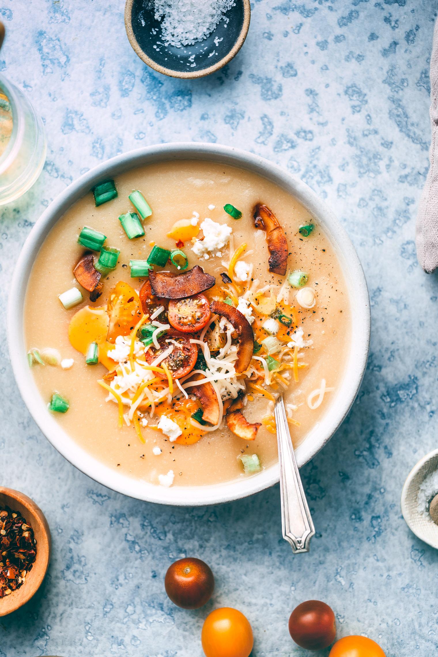 Vegetarian Loaded Baked Potato & Cauliflower Soup Recipe
