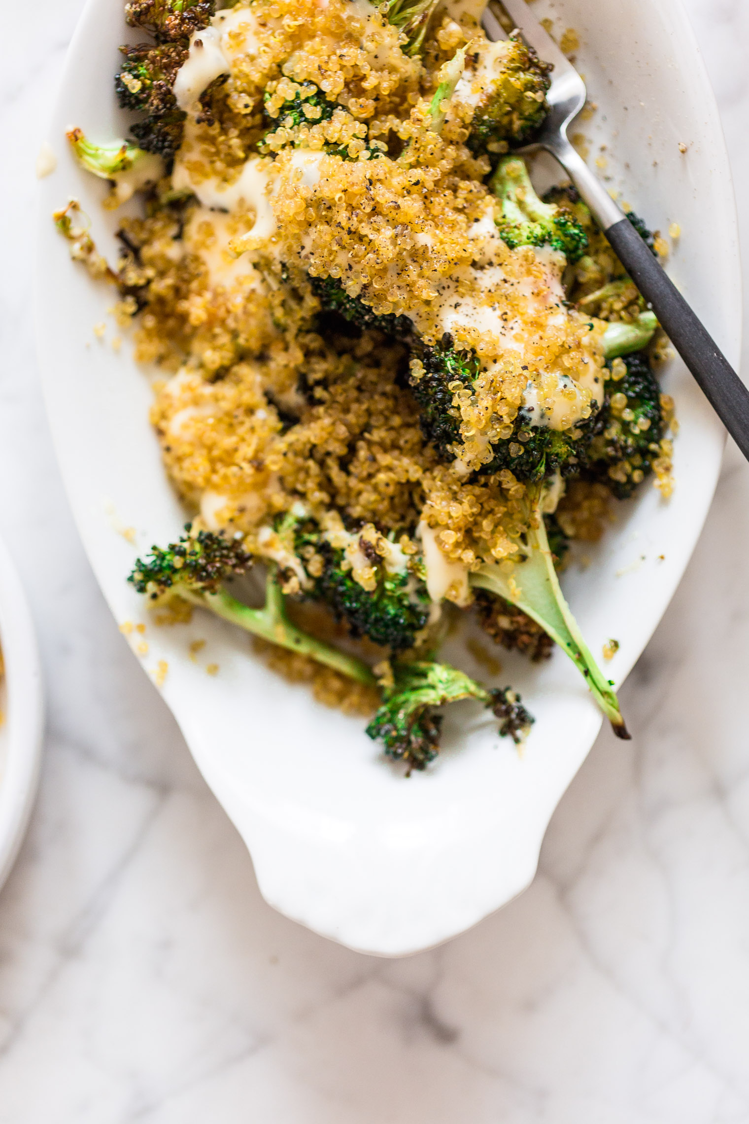 Roasted Broccoli and Cheddar with Crispy Quinoa
