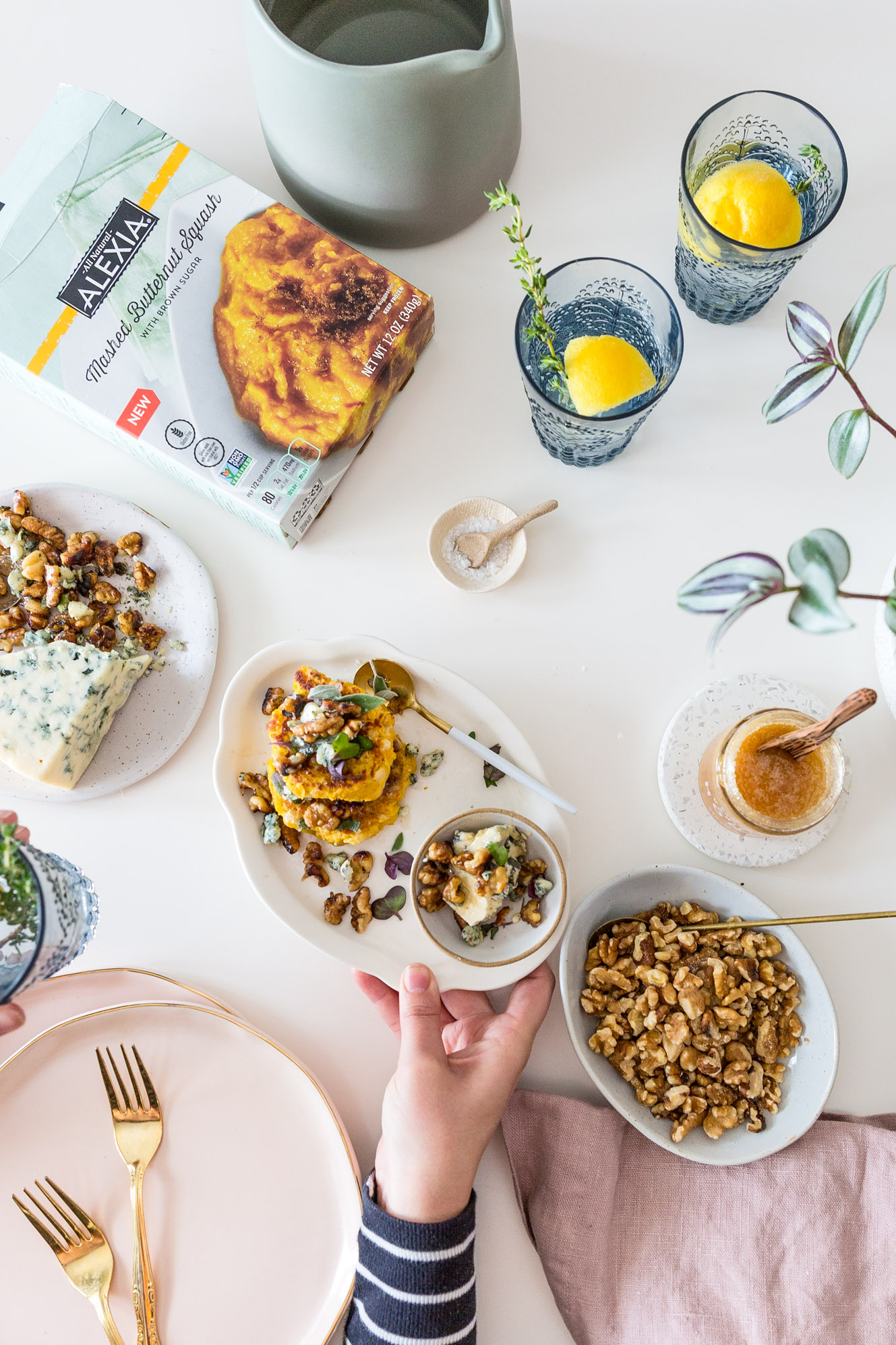 Vegetarian Butternut Squash & White Bean Fritters with Blue Cheese & Walnuts